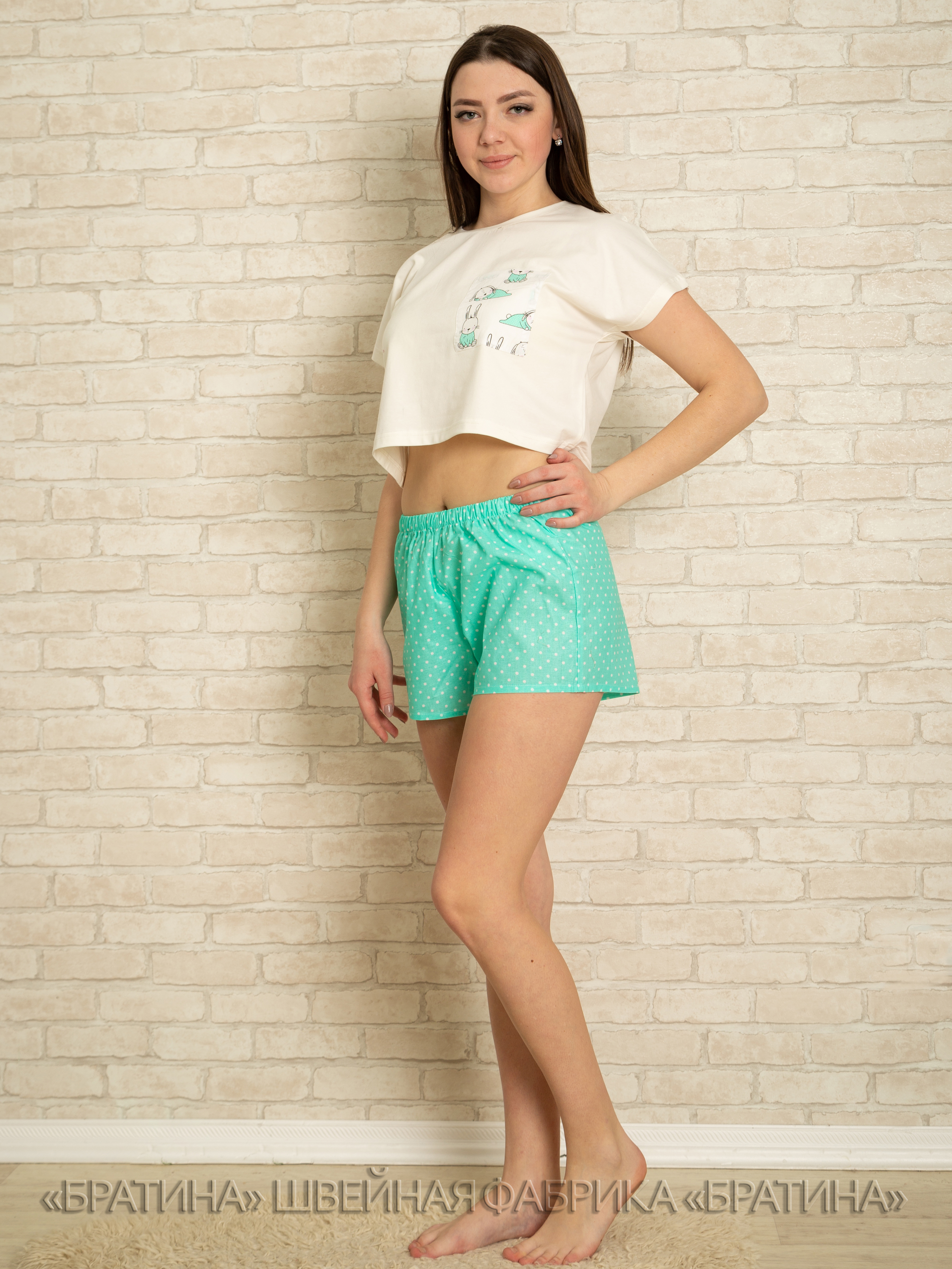 Пижама женская хлопковая комплект: футболка, шорты